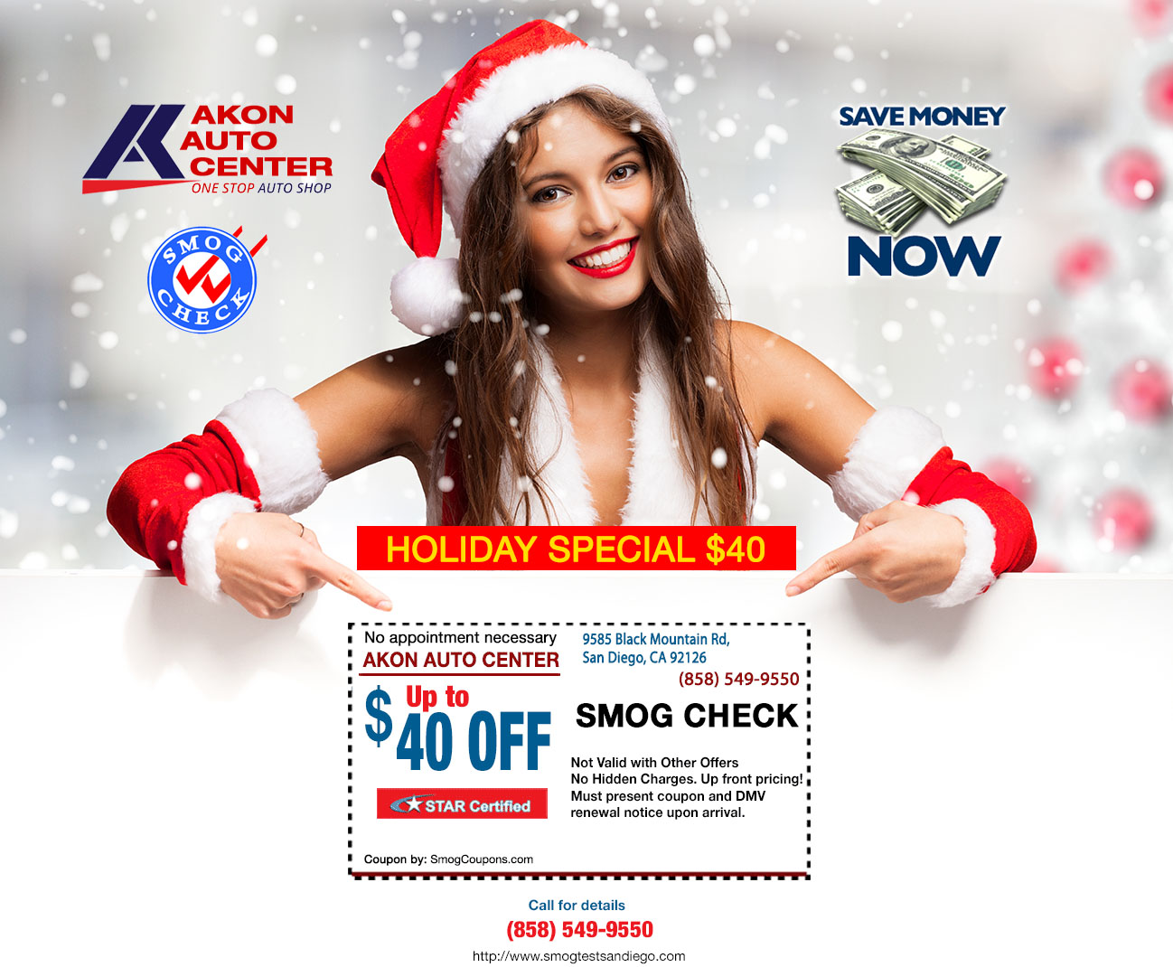 Holiday special $40 Smog Coupon